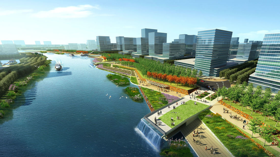 Shunde guipan river waterfront for Waterfront landscape design